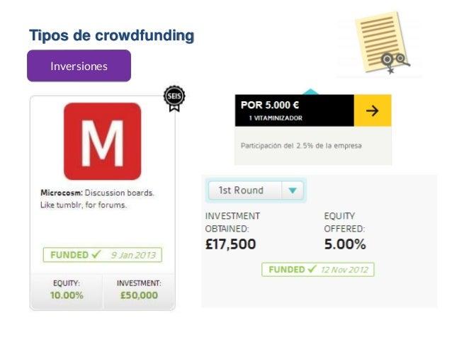 Tipos de crowdfunding Inversiones