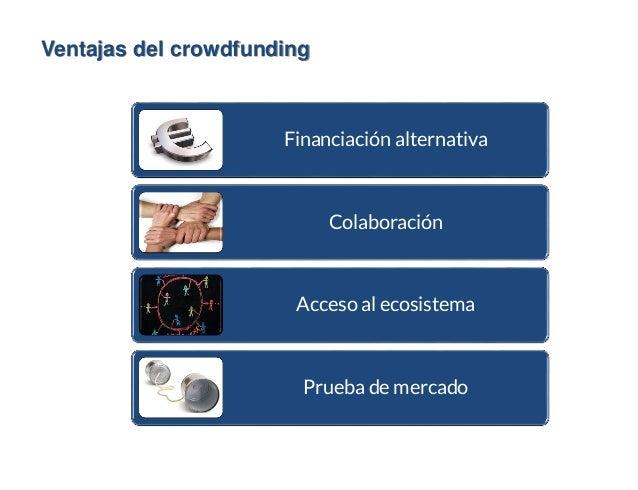 Ventajas del crowdfunding Financiación alternativa Colaboración Acceso al ecosistema Prueba de mercado