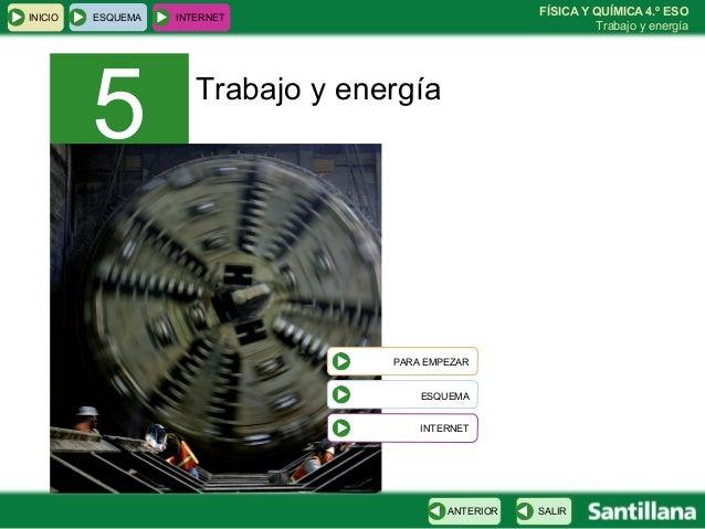 INICIO  ESQUEMA  5  FÍSICA Y QUÍMICA 4.º ESO Trabajo y energía  INTERNET  Trabajo y energía  PARA EMPEZAR ESQUEMA INTERNET...