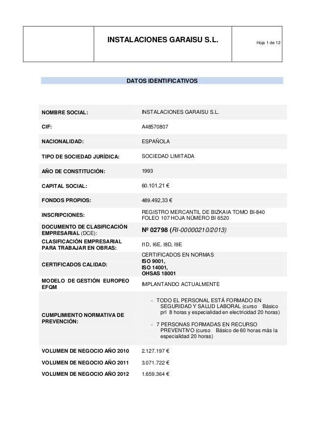INSTALACIONES GARAISU S.L. Hoja 1 de 12 DATOS IDENTIFICATIVOS NOMBRE SOCIAL: INSTALACIONES GARAISU S.L. CIF: A48570807 NAC...