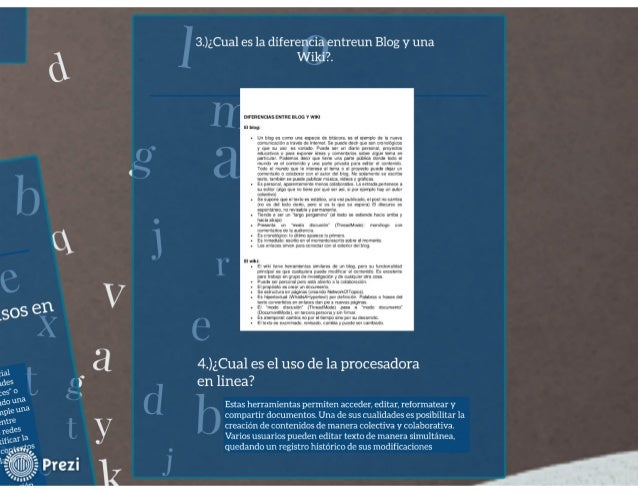 3.)¿Cua1 es la diferencia entreun Blog y una Wildï'.   DIFERENCIAS ernus smc v WIKI El blog:   .  un prop es como una aspe...