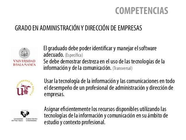 GRADO EN ADMINISTRACIÓNY DIRECCIÓN DE EMPRESAS COMPETENCIAS El graduado debe poder identificar y manejar el software adecu...