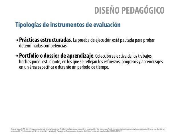 Tipologías de instrumentos de evaluación DISEÑO PEDAGÓGICO ➔ Prácticas estructuradas. La prueba de ejecución está pautada ...