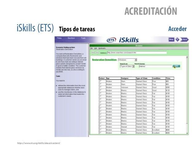 iSkills (ETS) ACREDITACIÓN Tipos de tareas Acceder https://www.ets.org/iskills/about/content/