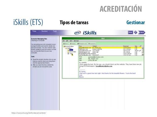 iSkills (ETS) ACREDITACIÓN Tipos de tareas Gestionar https://www.ets.org/iskills/about/content/