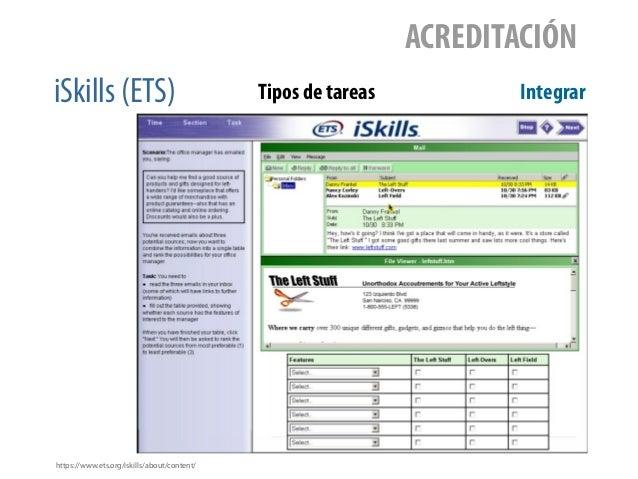 iSkills (ETS) ACREDITACIÓN Tipos de tareas Integrar https://www.ets.org/iskills/about/content/