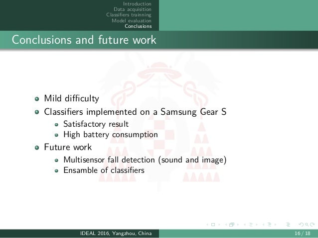 Introduction Data acquisition Classifiers trainning Model evaluation Conclusions Conclusions and future work Mild difficulty ...