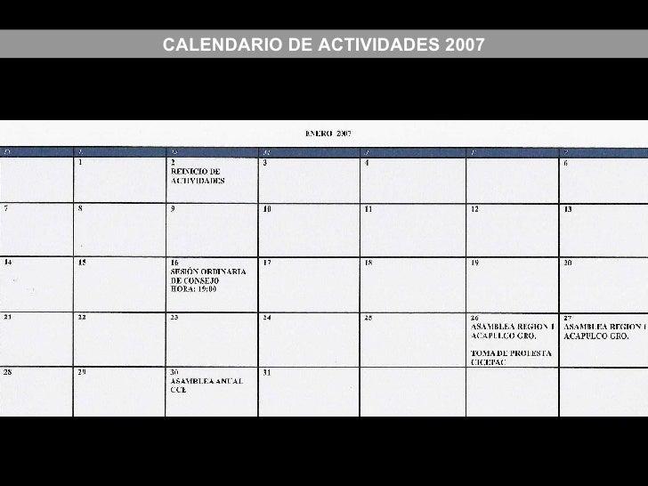 CALENDARIO DE ACTIVIDADES 2007