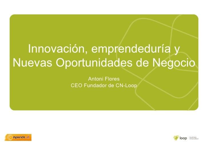 Innovación, emprendeduría y Nuevas Oportunidades de Negocio Antoni Flores CEO Fundador de CN-Loop