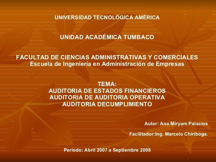 UNIVERSIDAD TECNOLÓGICA AMÉRICA UNIDAD ACADÉMICA TUMBACO FACULTAD DE CIENCIAS ADMINISTRATIVAS Y COMERCIALES Escuela de Ing...