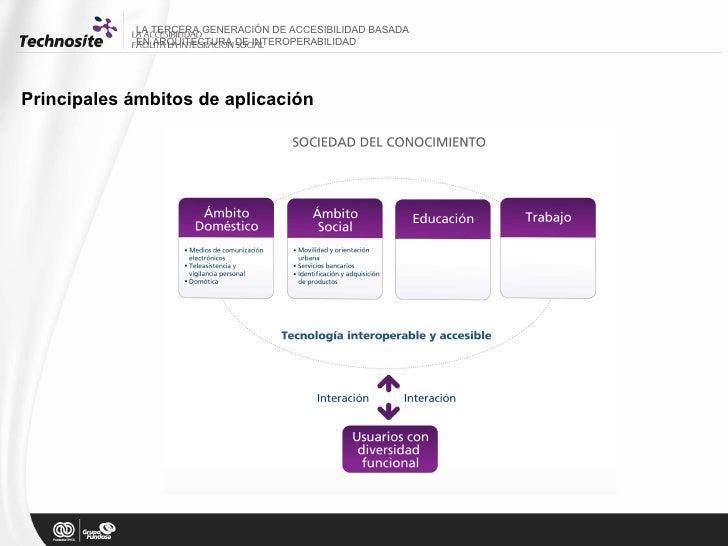 LA TERCERA GENERACIÓN DE ACCESIBILIDAD BASADA  EN ARQUITECTURA DE INTEROPERABILIDAD Principales ámbitos de aplicación