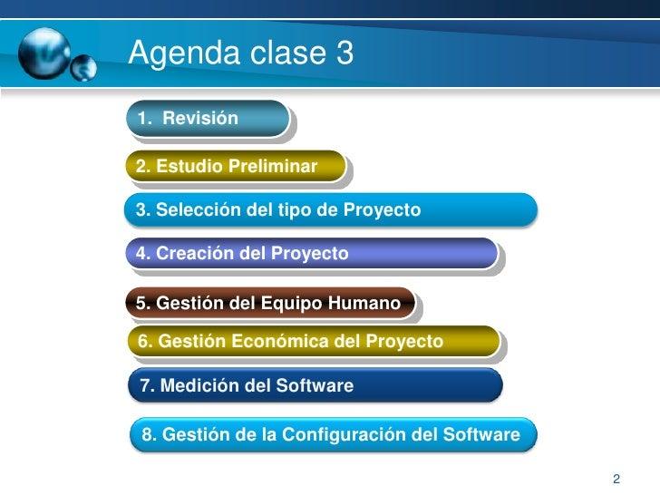 2<br />Agenda clase3  <br />1.  Revisión<br />2. EstudioPreliminar<br />3. Selección del tipo de Proyecto<br />4. Creación...