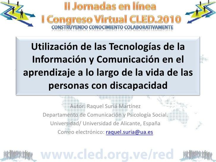 Utilización de las Tecnologías de la Información y Comunicación en el aprendizaje a lo largo de la vida de las personas co...
