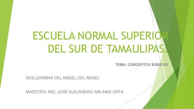 ESCUELA NORMAL SUPERIOR DEL SUR DE TAMAULIPAS. TEMA: CONCEPTOS BÁSICOS GUILLERMINA DEL ANGEL DEL ANGEL MAESTRO: ING. JOSÉ ...