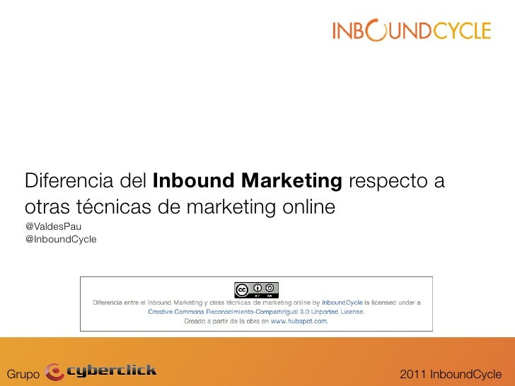 Diferencia del Inbound Marketing respecto a  otras técnicas de marketing online  @ValdesPau  @InboundCycleGrupo           ...