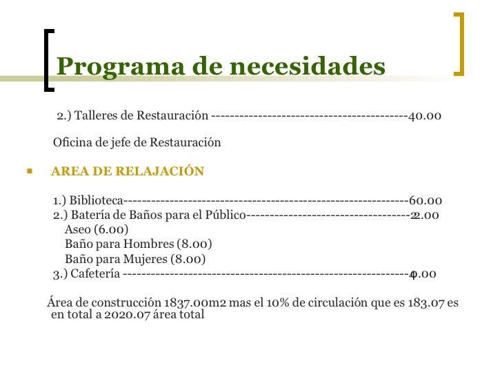 Presentacion dise o vi museo for Ejemplo de programa de necesidades arquitectura