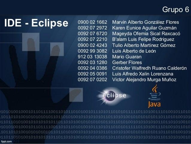IDE - Eclipse 0900 02 1662 Marvin Alberto González Flores 0092 07 2972 Karen Eunice Aguilar Guzmán 0092 07 6720 Mageyda Of...