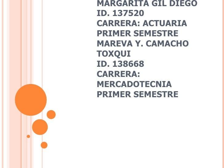 MARGARITA GIL DIEGO ID. 137520 CARRERA: ACTUARIA PRIMER SEMESTRE MAREVA Y. CAMACHO TOXQUI ID. 138668 CARRERA: MERCADOTECNI...