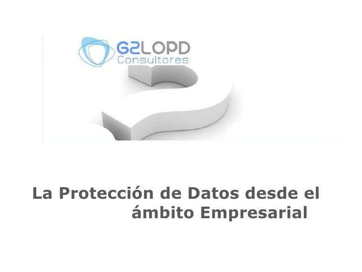 La Protección de Datos desde el<br />                  ámbito Empresarial<br />