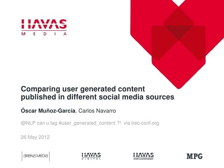 Comparing user generated contentpublished in different social media sourcesÓscar Muñoz-García, Carlos Navarro@NLP can u ta...