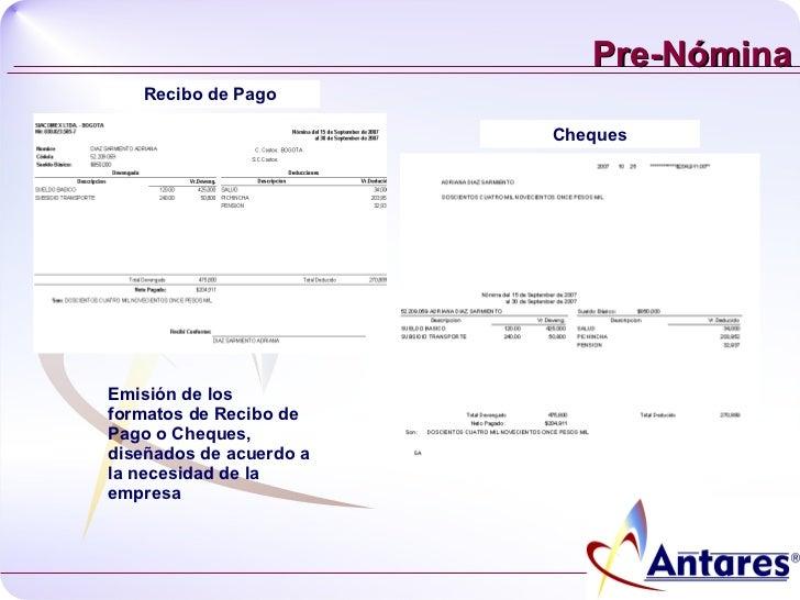 Presentacion nomina Formato para pago de nomina