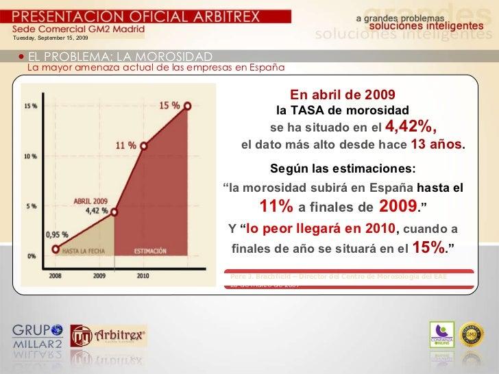 Tuesday, September 15, 2009    EL PROBLEMA: LA MOROSIDAD La mayor amenaza actual de las empresas en España Pere J. Brachf...