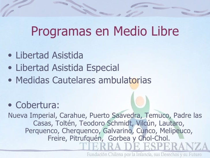 Programas en medio libre, Fundación Tierra de Esperanza, Temuco, enero 2009 Slide 2
