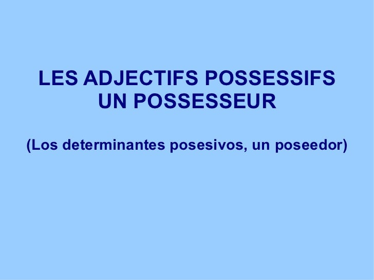 LES ADJECTIFS POSSESSIFS UN POSSESSEUR (Los determinantes posesivos, un poseedor)