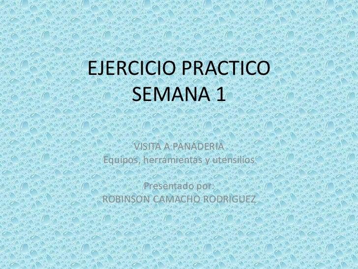 EJERCICIO PRACTICOSEMANA 1<br />VISITA A PANADERIA<br />Equipos, herramientas y utensilios<br />Presentado por:<br />ROBIN...