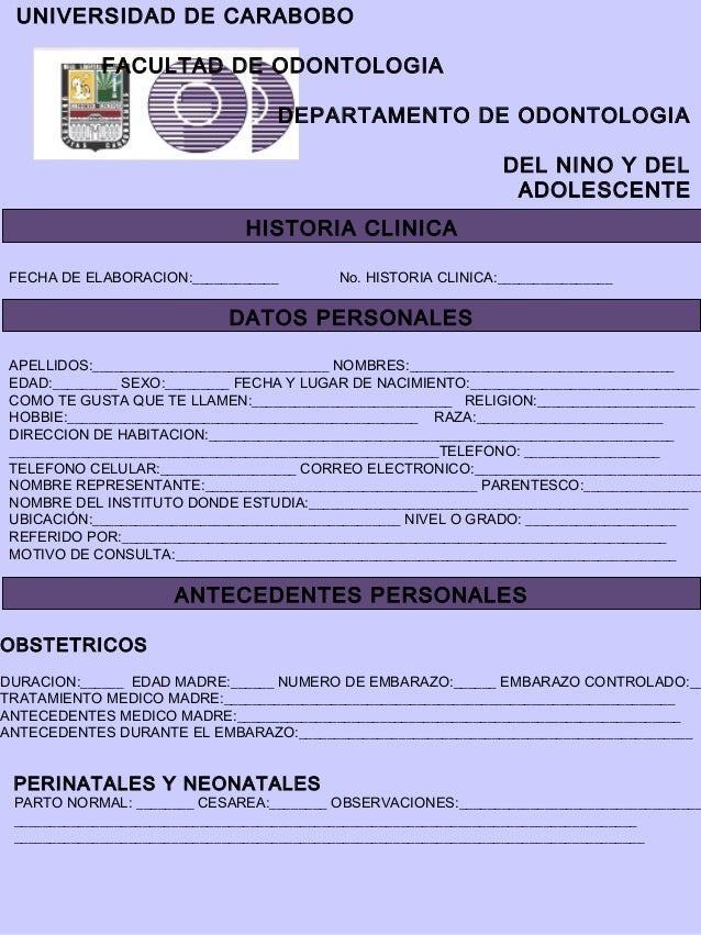 UNIVERSIDAD DE CARABOBO            FACULTAD DE ODONTOLOGIA                                   DEPARTAMENTO DE ODONTOLOGIA  ...