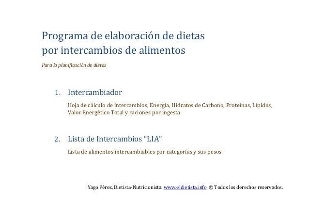 Programa de elaboración de dietaspor intercambios de alimentosPara la planificación de dietas      1.    Intercambiador   ...