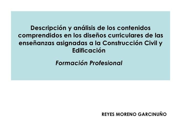 Descripción y análisis de los contenidos comprendidos en los diseños curriculares de las enseñanzas asignadas a la Constru...