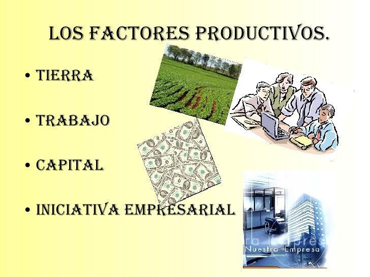 Los Factores Productivos. <ul><li>Tierra </li></ul><ul><li>Trabajo </li></ul><ul><li>Capital </li></ul><ul><li>Iniciativa ...