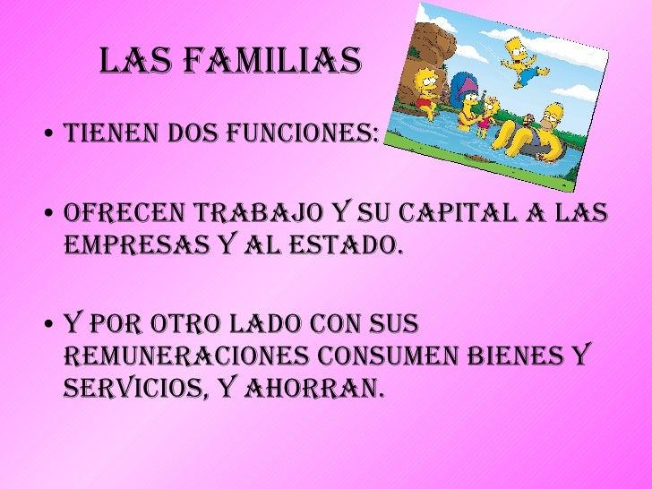 Las Familias <ul><li>Tienen dos funciones:  </li></ul><ul><li>Ofrecen trabajo y su capital a las empresas y al Estado. </l...