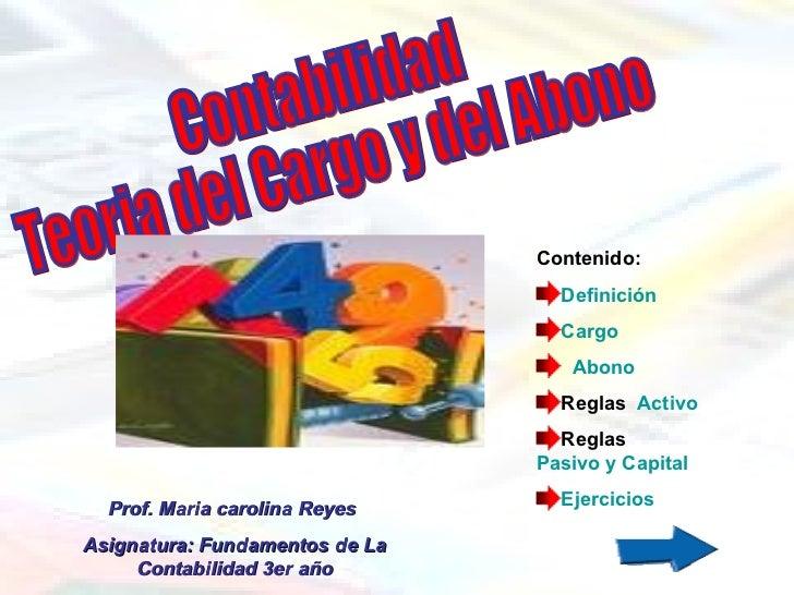 Contabilidad  Teoria del Cargo y del Abono <ul><li>Contenido: </li></ul><ul><li>Definición </li></ul><ul><li>Cargo   </li>...
