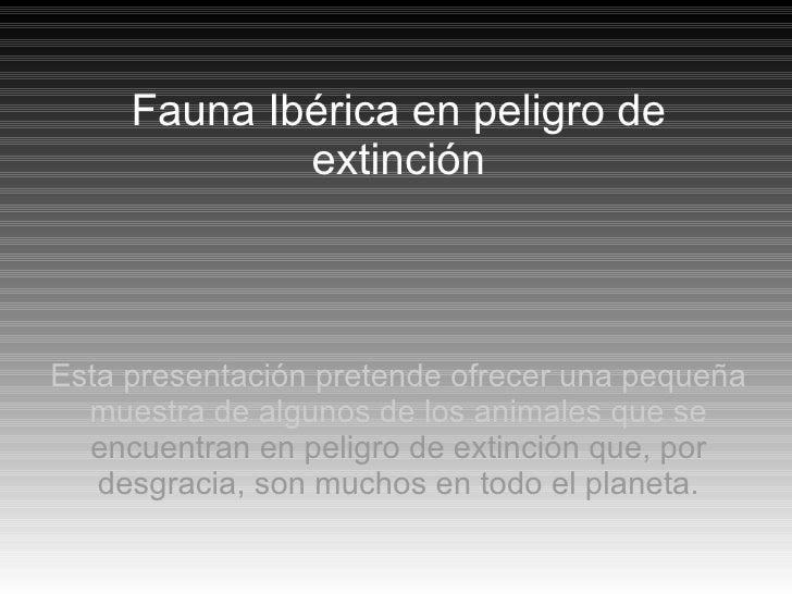 Fauna Ibérica en peligro de extinción Esta presentación pretende ofrecer una pequeña muestra de algunos de los animales qu...