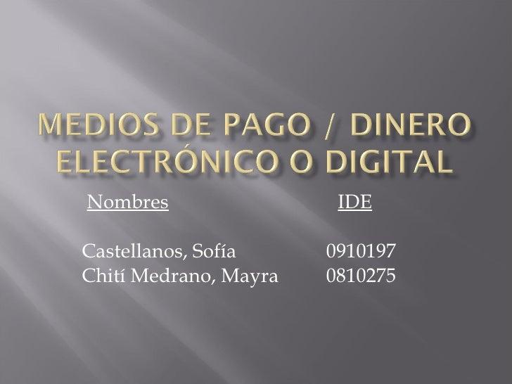 Nombres IDE   Castellanos, Sofía   0910197   Chití Medrano, Mayra   0810275