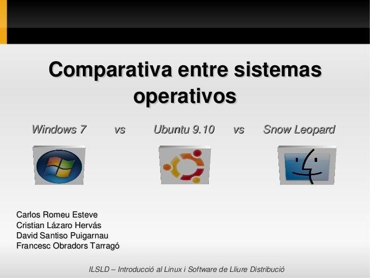 Comparativaentresistemas              operativos    Windows7vsUbuntu9.10vsSnowLeopardC...