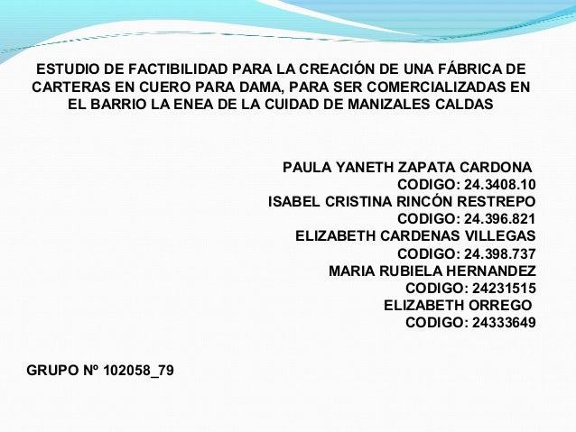 ESTUDIO DE FACTIBILIDAD PARA LA CREACIÓN DE UNA FÁBRICA DE CARTERAS EN CUERO PARA DAMA, PARA SER COMERCIALIZADAS EN EL BAR...