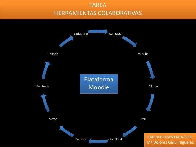 TAREA HERRAMIENTAS COLABORATIVAS Slideshare  Camtasia  Linkedin  Youtube  Plataforma Moodle  Facebook  Skype  Vimeo  Prezi...