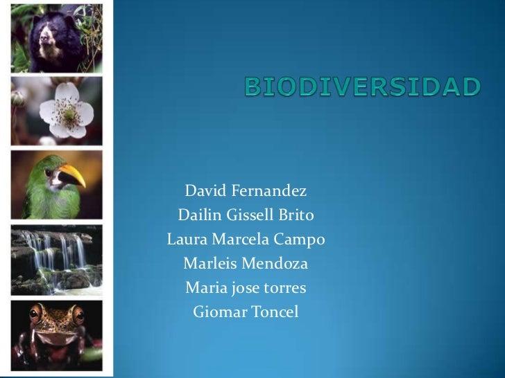 BIODIVERSIDAD<br />David Fernandez<br />Dailin Gissell Brito<br />Laura Marcela Campo<br />Marleis Mendoza<br />Maria jose...