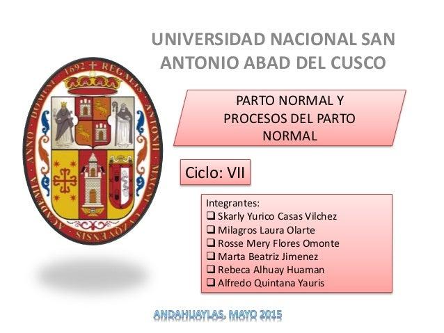 UNIVERSIDAD NACIONAL SAN ANTONIO ABAD DEL CUSCO PARTO NORMAL Y PROCESOS DEL PARTO NORMAL Integrantes:  Skarly Yurico Casa...