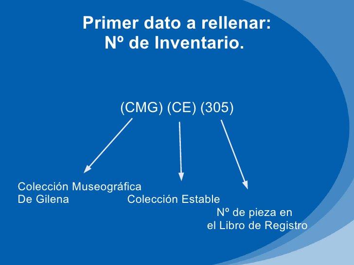 Primer dato a rellenar:              Nº de Inventario.                  (CMG) (CE) (305)Colección MuseográficaDe Gilena   ...