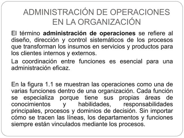 ADMINISTRACIÓN DE OPERACIONES EN LA ORGANIZACIÓN El término administración de operaciones se refiere al diseño, dirección ...
