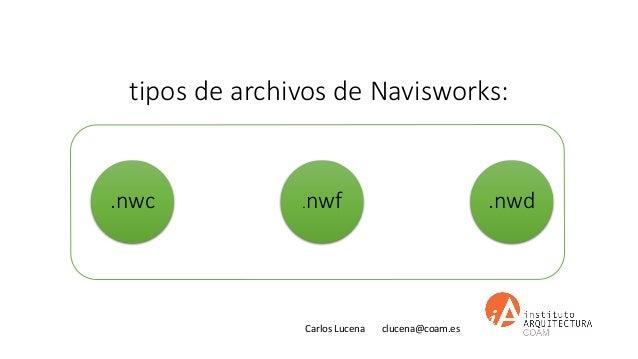 Carlos Lucena clucena@coam.es tipos de archivos de Navisworks: .nwc .nwf .nwd