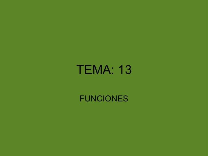 <ul>TEMA: 13 </ul><ul>FUNCIONES </ul>
