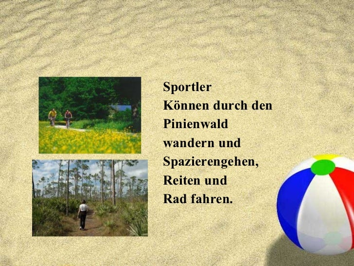 <ul><li>Sportler </li></ul><ul><li>Können durch den </li></ul><ul><li>Pinienwald </li></ul><ul><li>wandern und </li></ul><...