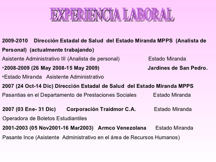 EXPERIENCIA LABORAL 2007 (03 Ene- 31 Dic)  Corporación Traidmor C.A.  Estado Miranda Operadora de Boletos Estudiantiles 20...