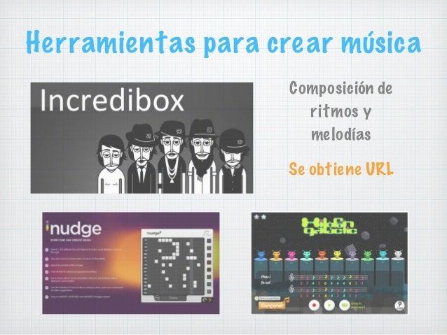 Herramientas para crear música Composición de ritmos y melodías Se obtiene URL