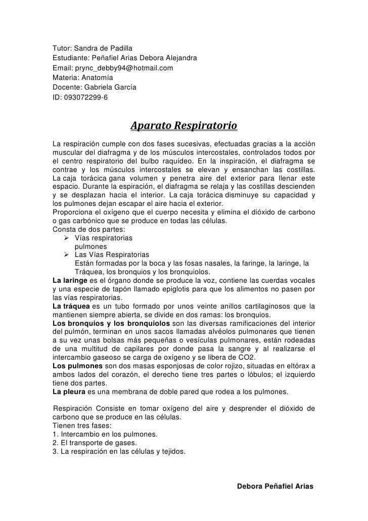 Tutor: Sandra de PadillaEstudiante: Peñafiel Arias Debora AlejandraEmail: prync_debby94@hotmail.comMateria: AnatomíaDocent...